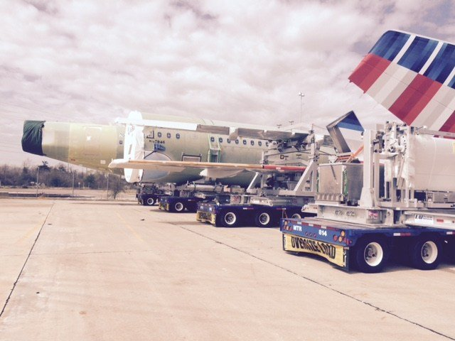 Four large parts of Airbus plane arrive in Mobile. photo FOX10 News Reporter Steve Alexander