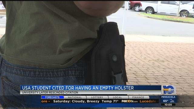 Student cited for wearing empty gun holster on campus