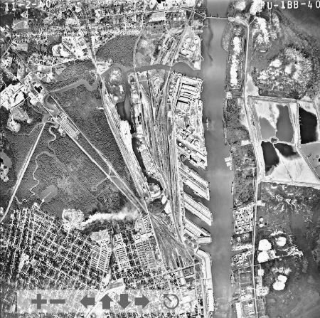 An aerial photo of the Port of Mobile in 1960. Alabama Port Authority officials said the petroleum storage industry has been present along the Mobile River for nearly 100 years. (Credit: University of Alabama Archives)