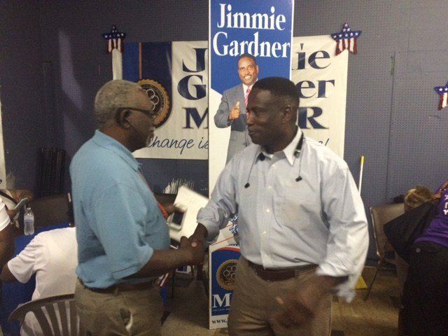 Jimmie Gardner, right, is pictured on the night of his win in the Prichard mayoral runoff race. (Photo: Lee Peck, FOX10 News)