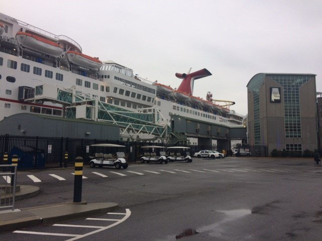 Carnival Fantasy is pictured in port at the Alabama Cruise Terminal. (Photo: FOX10 News)