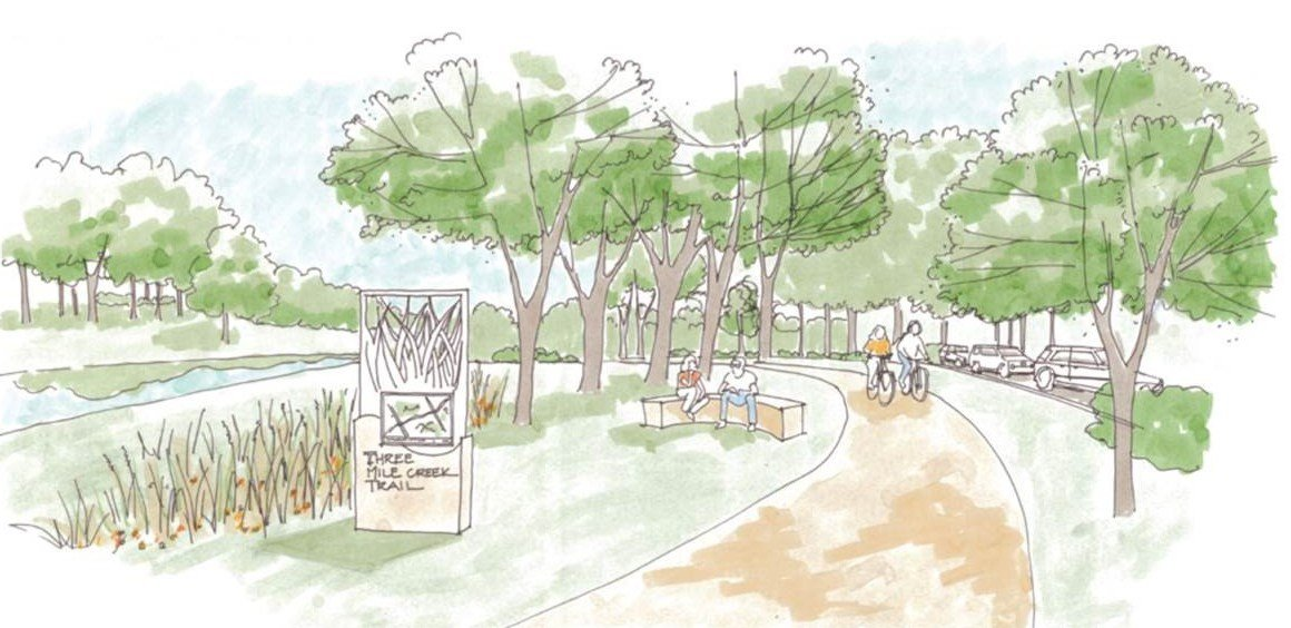 Artist's rendition of Three Mile Creek Greenway Trail (SOURCE: City of Mobile)