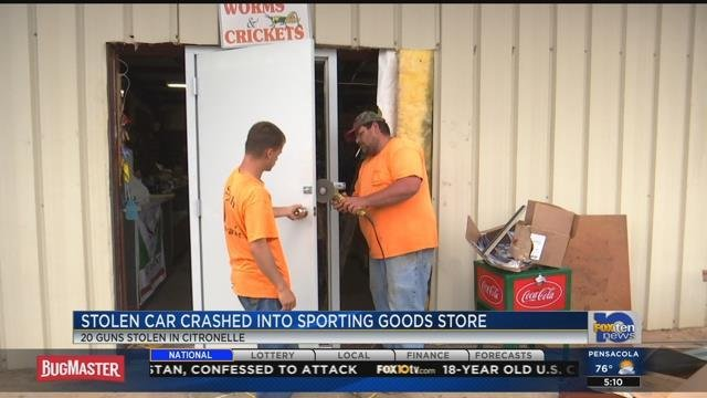 Thieves rammed a car into this sporting goods store. (FOX10 News)