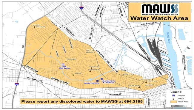 Officials with Mobile Area Water and Sewer System (MAWSS) say customers could possibly see some discolored water during upgrades scheduled to take place on the morning of Tuesday, January 31. Photo: MAWSS