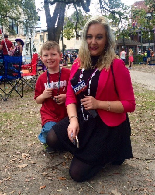 Andrew and Reporter Devan Coffaro in downtown Mobile on Fat Tuesday. Andrew was excited to be outside for Mardi Gras and wanted to let FOX10 News know about his progress.