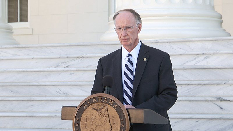 Three days before resigning, Gov. Robert Bentley spoke to reporters on the Capitol steps in Montgomery. (FOX10 News)