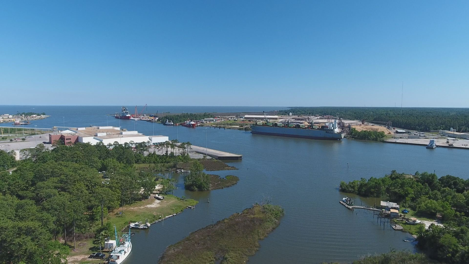 An aerial view of Mobile Bay from the Theodore Industrial Canal. (Credit: Bill Flowers, WALA FOX10 News IT Administrator)