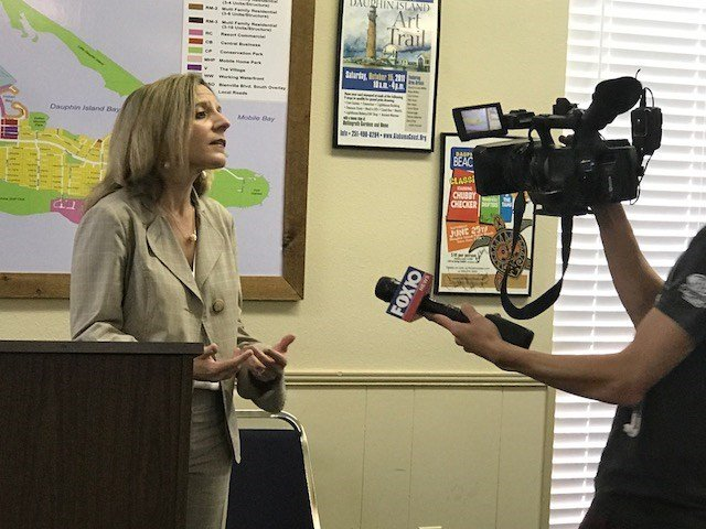 Patti Powell, director of the Alabama Department of Conservation and Natural Resources' state lands division, speaks to a FOX10 News after Tuesday's press conference on Dauphin Island. (Photo courtesy of the Town of Dauphin Island)