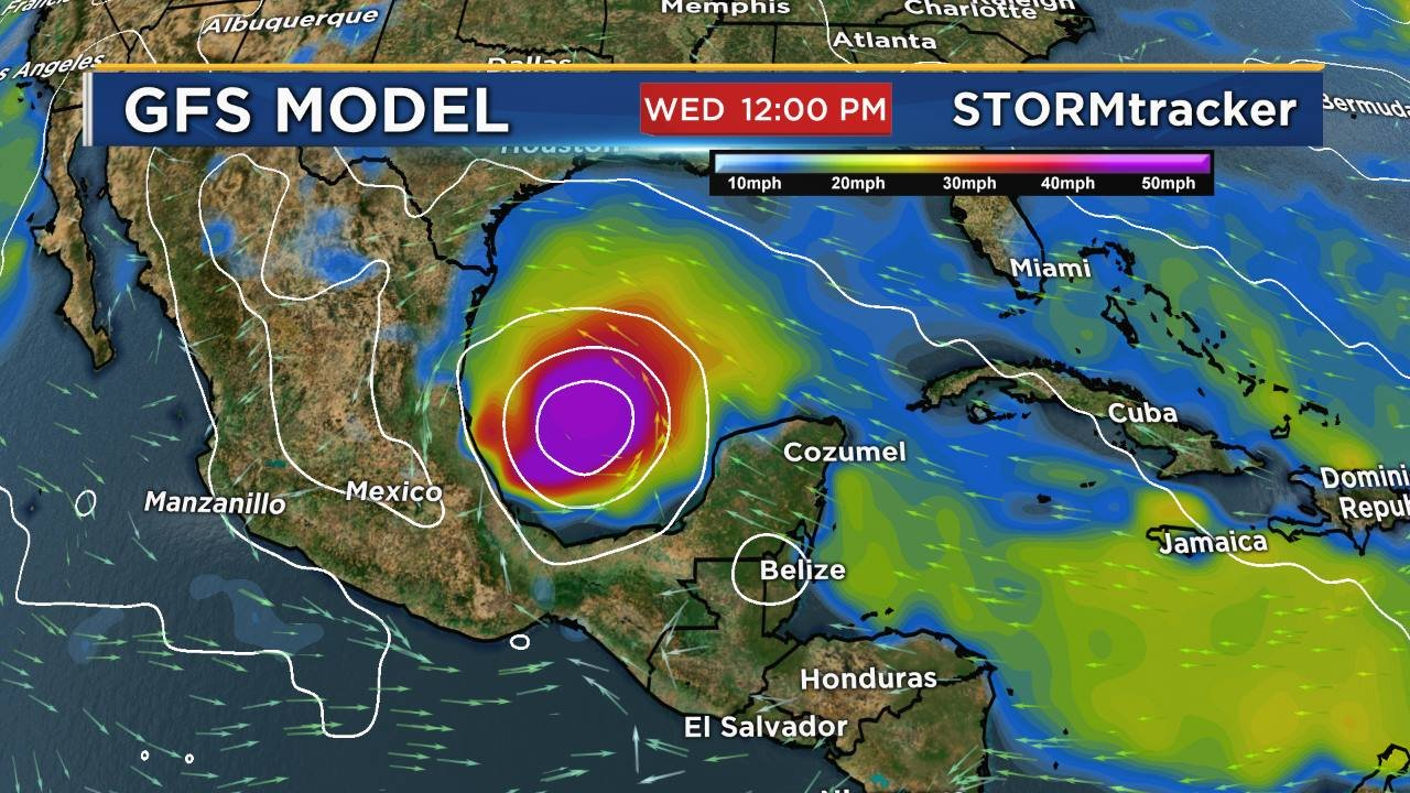 Potential Tropical Cyclone nears Yucatan