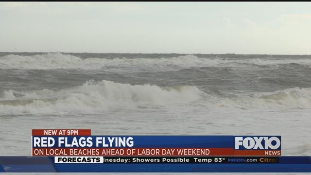 Gulf Shores feeling slight impact from Harvey. Source: Lee Peck, FOX 10 News