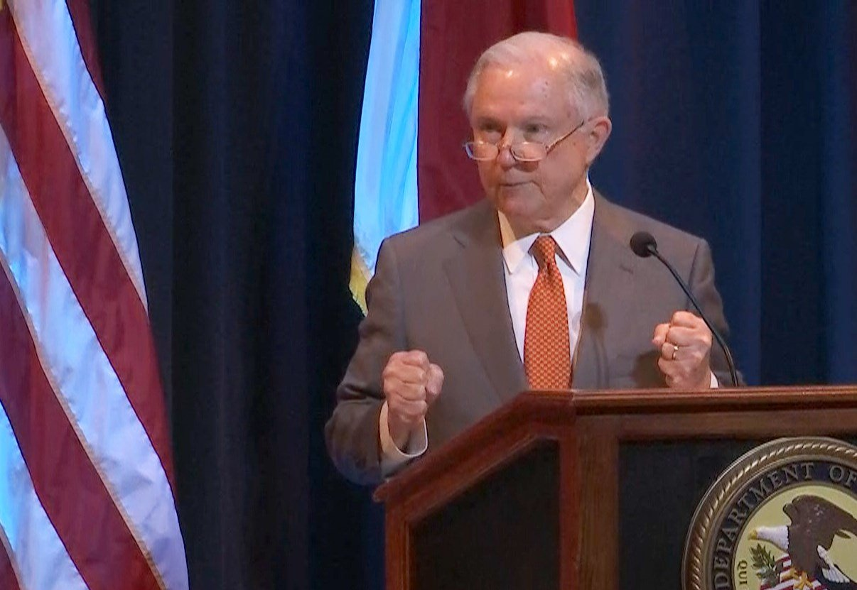 Attorney General Jeff Sessions spoke to hundreds of law enforcement officials from across Alabama on Friday, September 1. (Credit: Guy Turnbow, WALA FOX10 News)