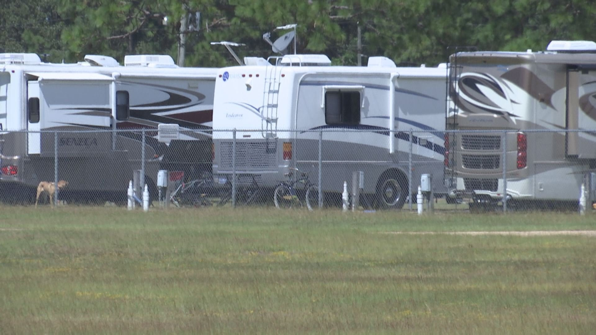 RVs belonging to Flordia evacuees are parked at The Grounds in west Mobile. (Kati Weis, WALA FOX10 News)