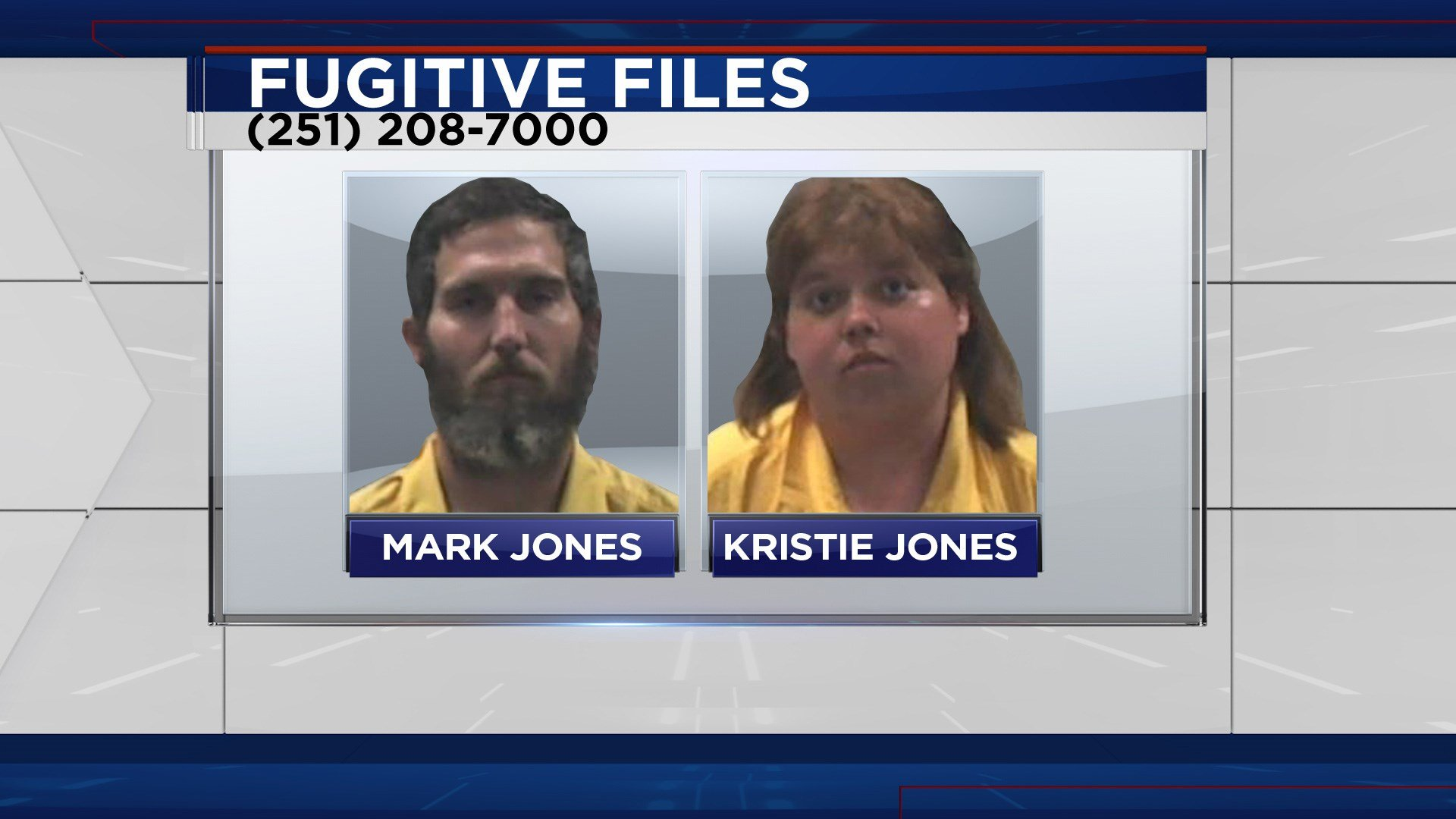 FOX10 News Fugitive Files suspects Mark and Kristie Jones (Image: Jackson Co MS SO)