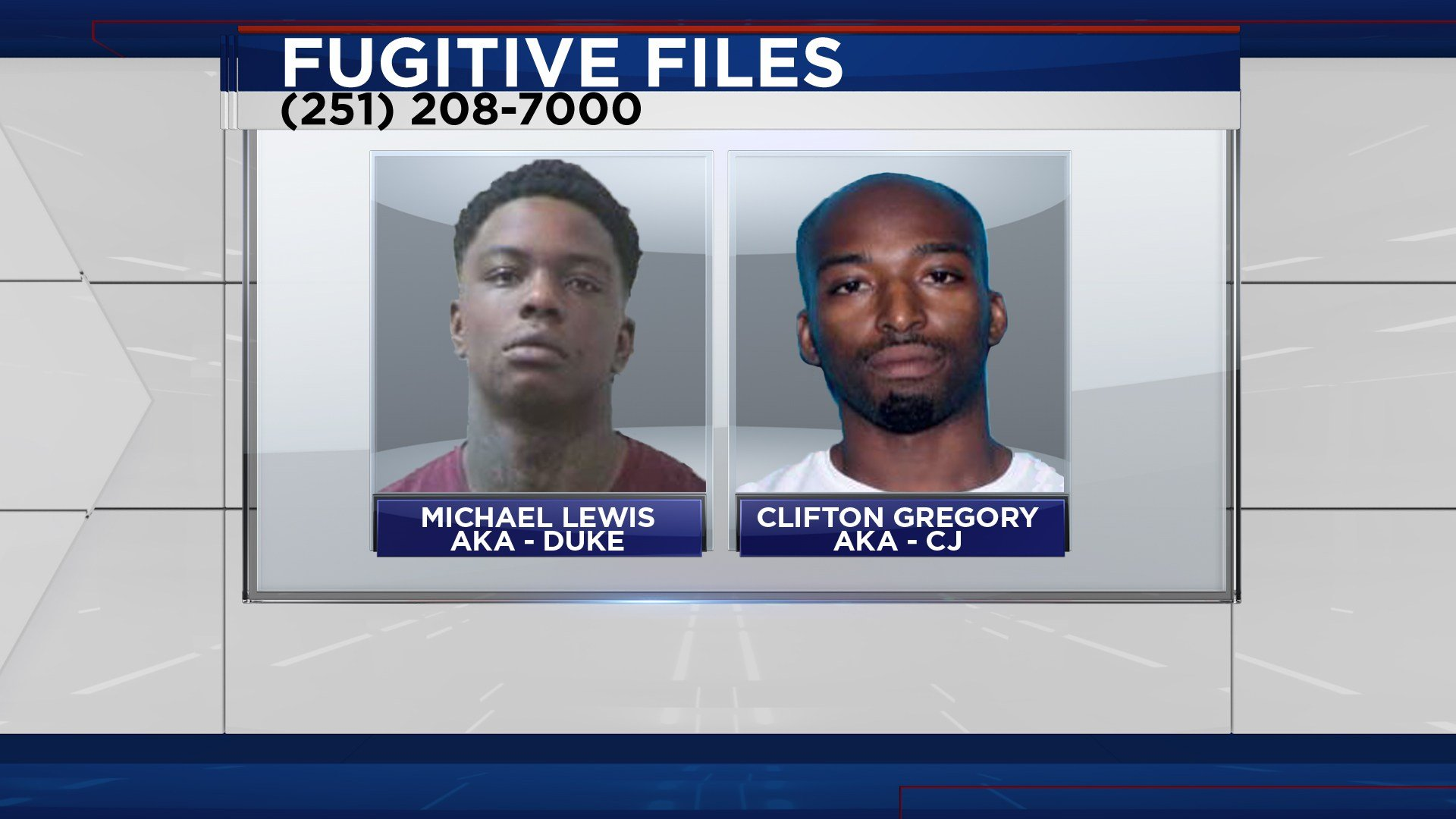 FOX10 News Fugitive Files suspects wanted for a shooting on Wicker Way (Image: WALA Graphics)