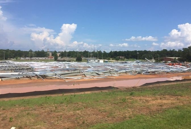 According to a recent report, an installation error contributed to the collapse of the University of South Alabama's football training facility on July 22. Photo: FOX10 News