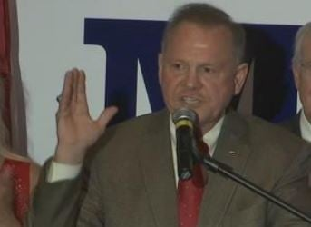 Roy Moore is pictured Tuesday night, Sept. 26, 2017, after winning the GOP nomination in the U.S. Senate race in Alabama. (FOX10 News)