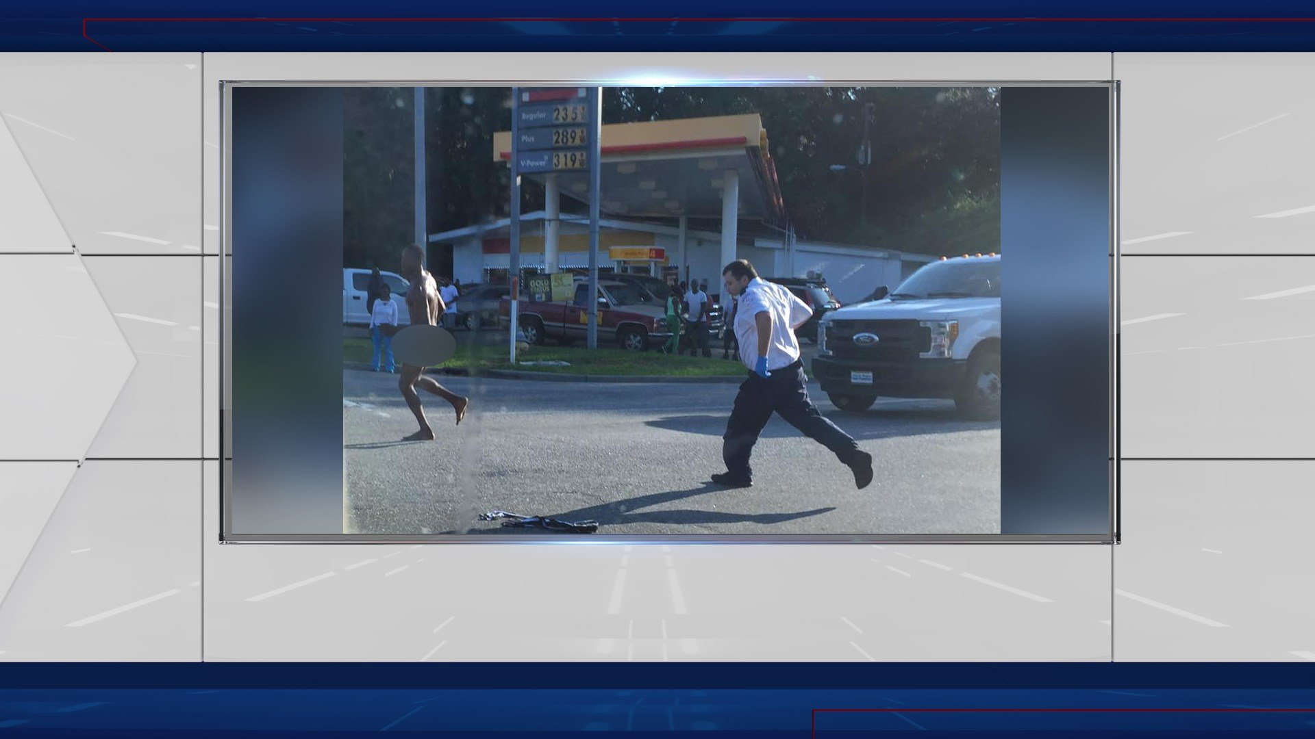 A viewer sent FOX10 News this photo of the man running from a paramedic.