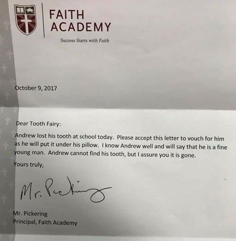 Letter from Faith Academy principal to Tooth Fairy