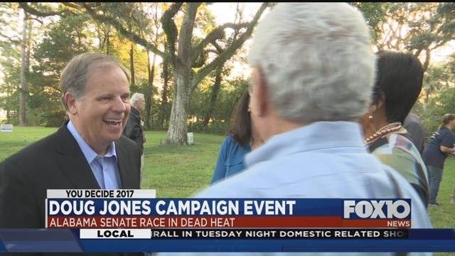 Democratic Senate candidate Doug Jones campaigning in Mobile Wednesday night. Source: Lee Peck, FOX 10 News
