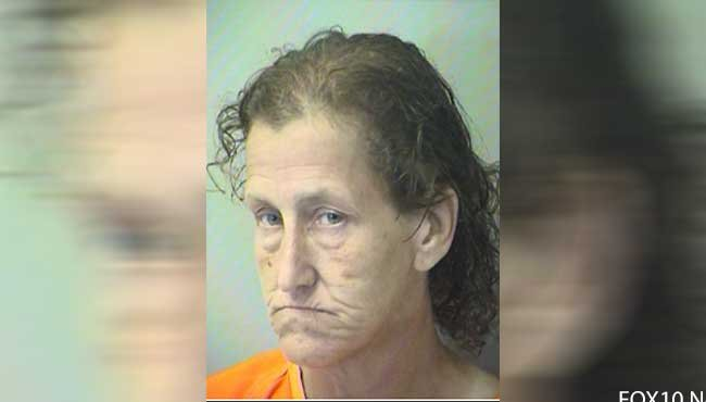 Officials say Okaloosa County Sheriff's Office deputies found 46-year-old Alicia Bullock hiding behind a nearby building and a vehicle left with thousands of dollars in damage after responding to a call of a car burglary in progress.  Photo: OCSO