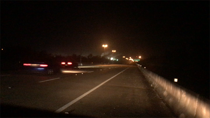 Two muscle cars illegally racing on I-165 around 2 a.m. on Saturday morning, October 28. (Credit: Franz Barraza, WALA FOX10 News)