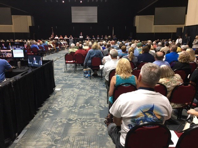 More than 1,000 people showed up for a jam-packed town hall meeting to talk about projects in Orange Beach. Photo: FOX10 News Reporter Alexa Knowles.