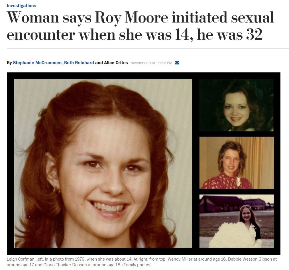 Washington Post report about claim that Roy Moore initiated sexual encounter with 14-year-old girl when he was 32 (washingtonpost.com)