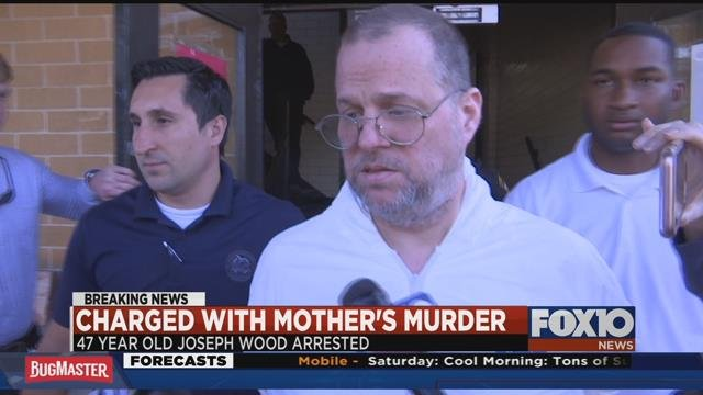 Joseph Wood was arrested for the death of his 70-year-old mother, Carol Croucher. Photo: FOX10 News.
