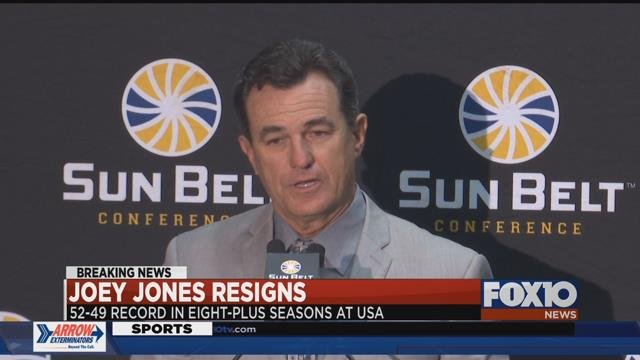 Joey Jones resigns as University of South Alabama head football coach. Source: FOX 10 News
