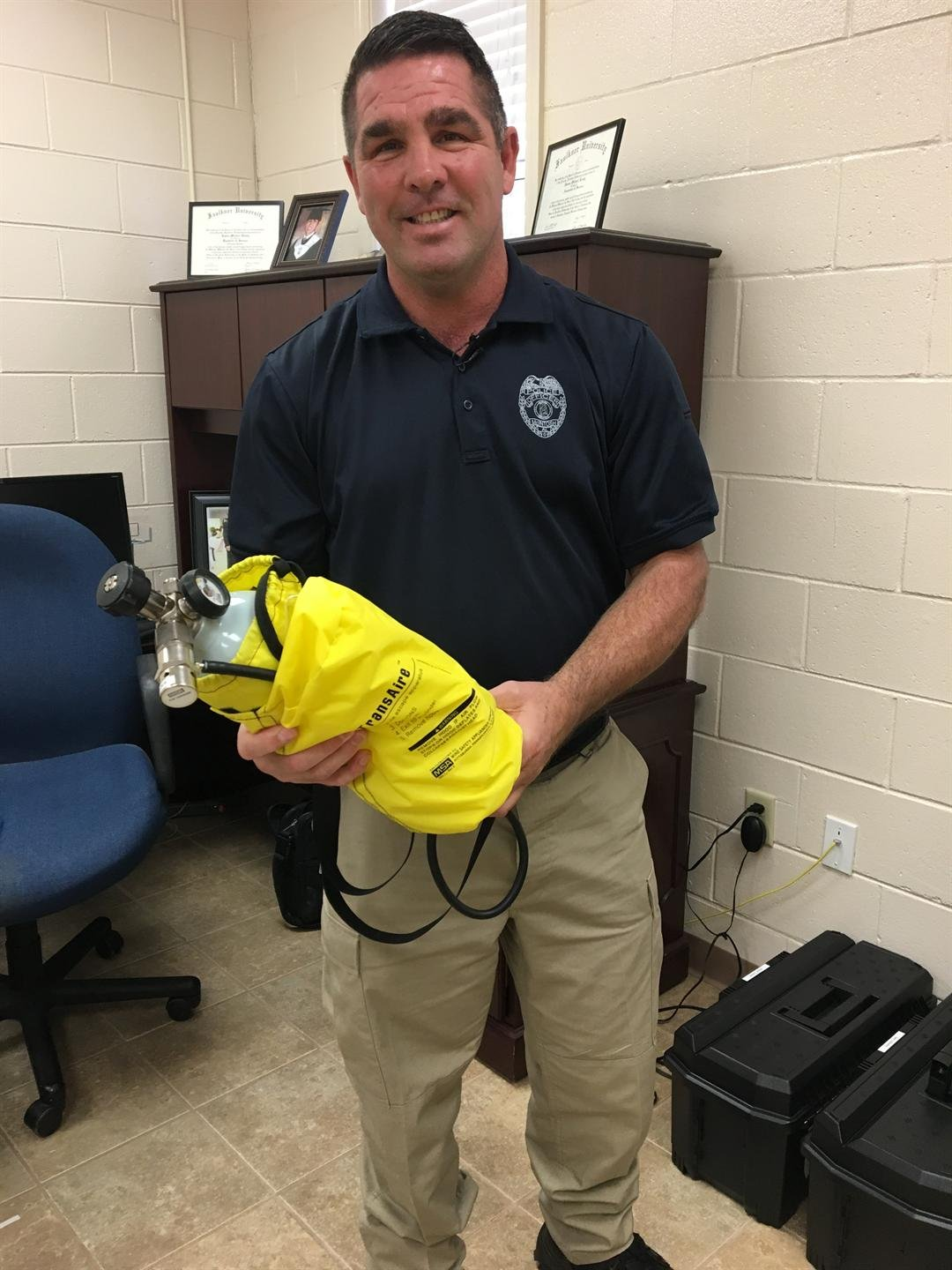 McIntosh Police Chief Mike Ready told FOX10 News he is happy to have new life-saving gear from Olin. (Kati Weis, FOX10 News)
