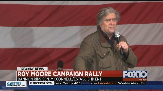 Steve Bannon speaks at a rally for Senate candidate Roy Moore in Fairhope on December 5, 2017 (FOX10 News)
