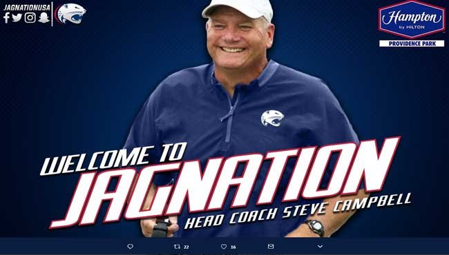 Steve Campbell was named head football coach at the University of South Alabama on Thursday, December 7.  Photo: Twitter