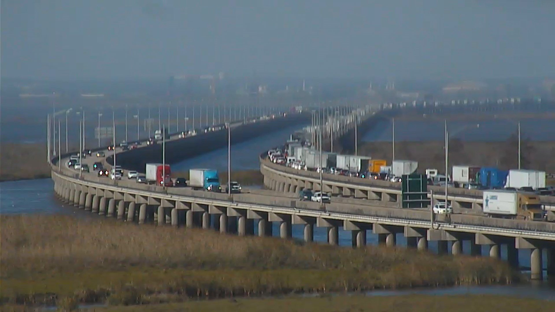 Westbound Bayway traffic was moving very slowly hours after an early Saturday morning accident. (FOX10 News)