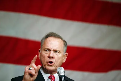 (AP Photo/Brynn Anderson, File). FILE - In this Dec. 5, 2017 photo, former Alabama Chief Justice and U.S. Senate candidate Roy Moore speaks at a campaign rally, in Fairhope Ala. Alabama voters pick between Republican Roy Moore and Democrat Doug Jones.