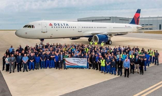 Employees at the Airbus U.S. Manufacturing Facility in Mobile delivered their 50th aircraft to Delta Air Lines. Courtesy: Kristi Tucker, Airbus