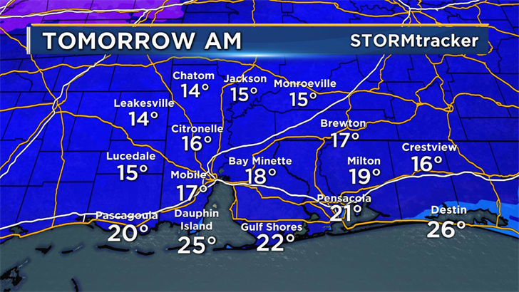 The Baldwin Co. School System is relaxing their dress code due to freezing temperatures. Photo: FOX10 News.