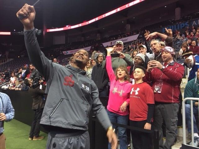 Alabama player Raekwon Davis interacts with fans at the National Championship Game Media Day event Saturday, Jan. 6, 2018, in Atlanta. (Photo: Bri MacNaught, FOX10 News)
