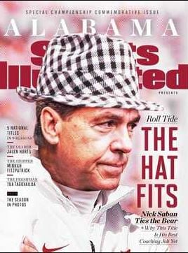 Nick Saban depicted wearing Bear Bryant's hat on Sports Illustrated cover