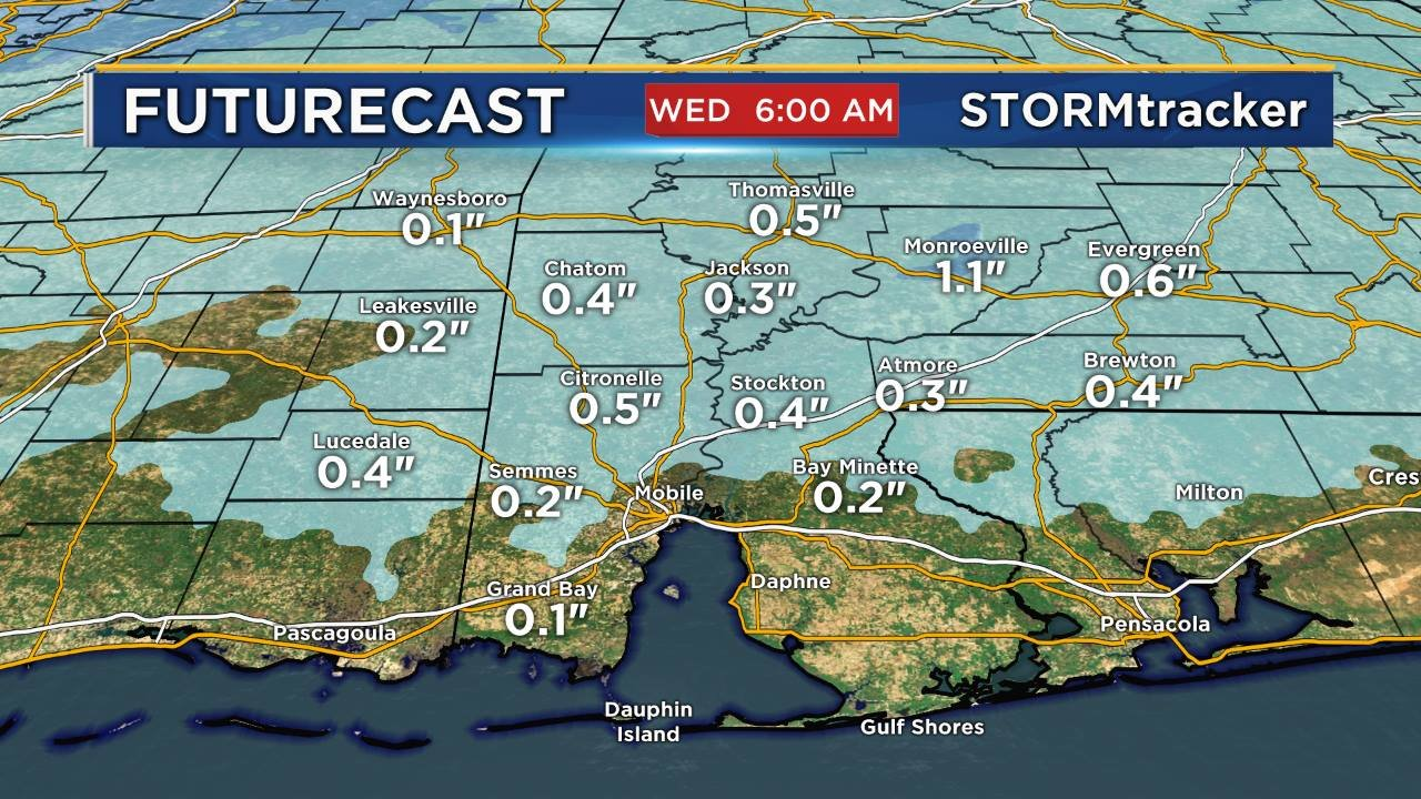 Accumulation forecast for snow flurries Tuesday night. (FOX10 News)