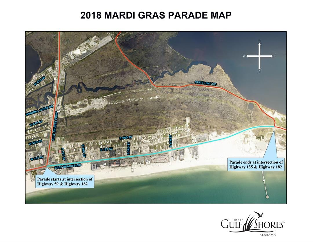 Gulf Shoes Mardi Gras parade route  (City of Gulf Shores)