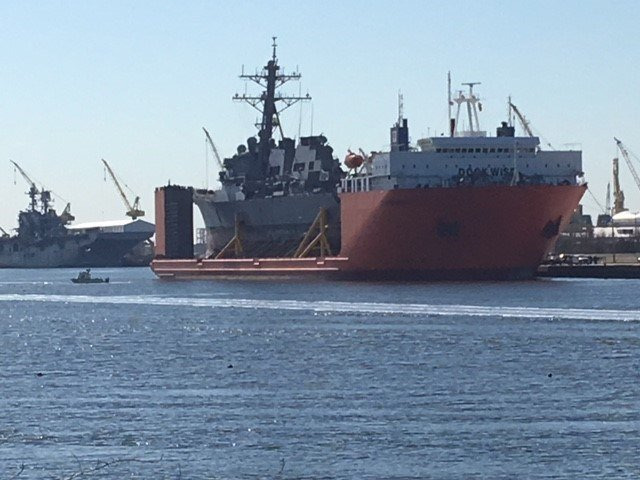 A U.S. Navydestroyer damaged in a collision last summer, the USS Fitzgerald, arrived at the Port of Pascagoula Friday, Jan. 19, 2018. (Photo: Mick Ward, FOX10 News)