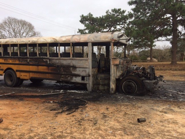 School bus fire in Grand Bay. January 22, 2018. (FOX10 News)