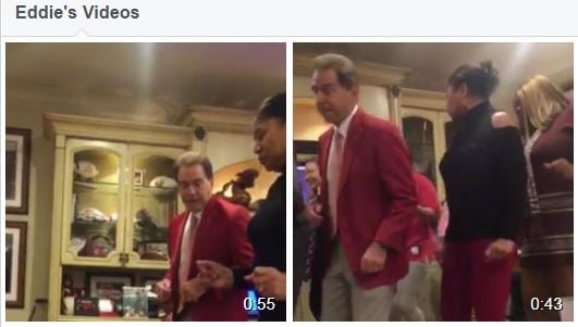 Cornerback recruit Eddie Smith posted a couple of videos on Facebook.showing Nick Saban dancing during a visit. (Facebook)