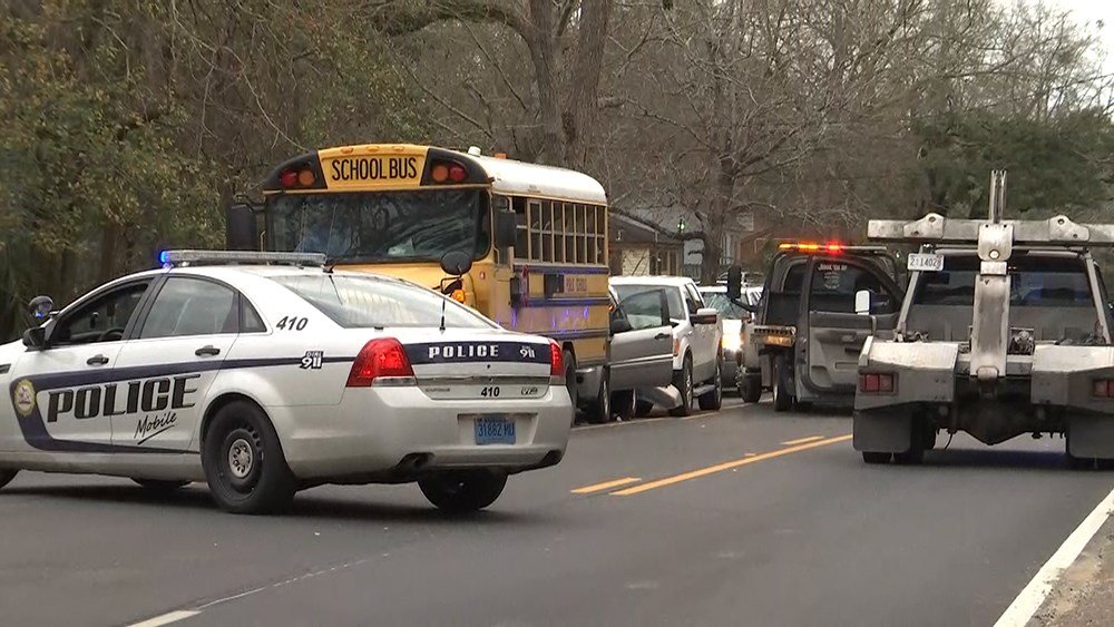 Accident involving a school bus on McVay Drive (FOX10 News)