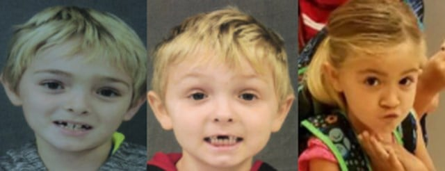 Kegan Houde, 8, Matteho Houde, 6, and Kasandra Houde, 5, were last seen in Niceville, Florida, but may be in the Fort Walton Beach area.