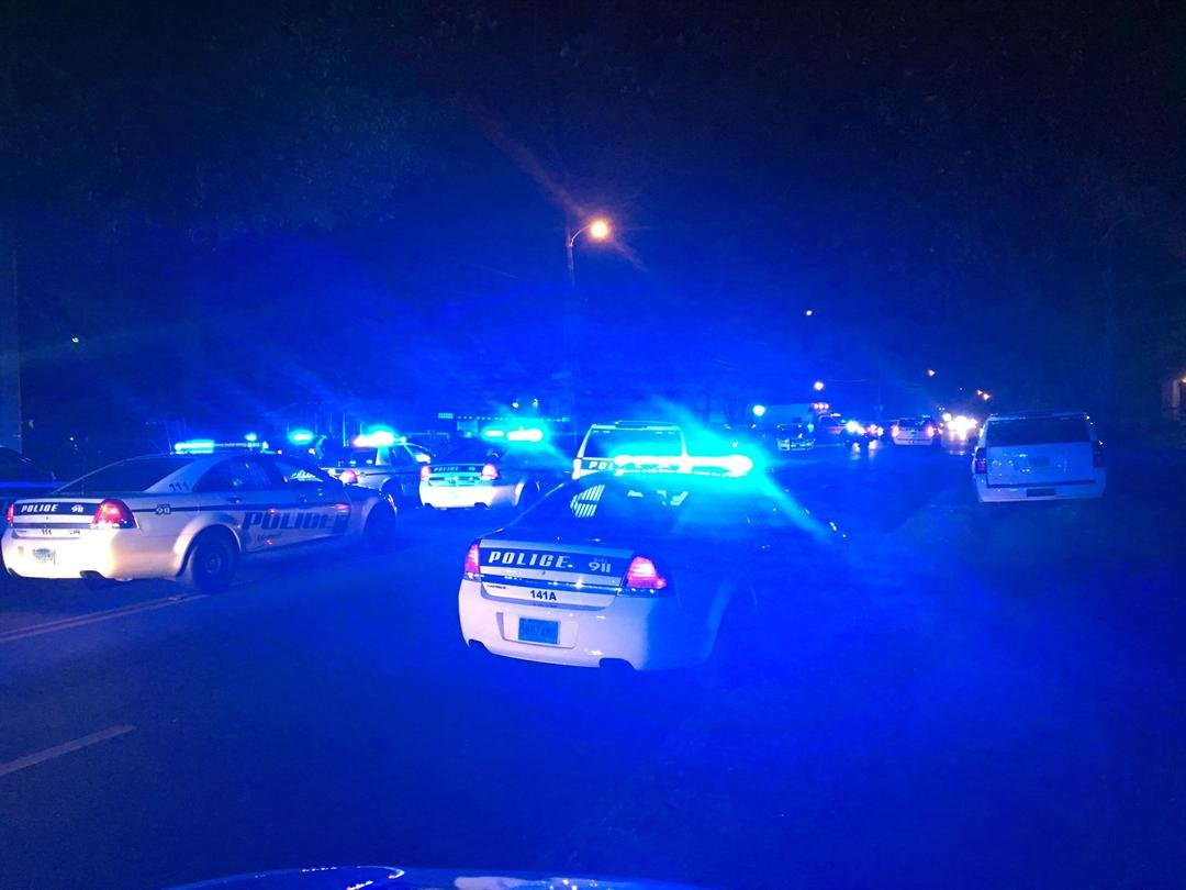 Scene on Crawford Lane in Mobile after a police officer was shot. February 20, 2018. (FOX10 News)