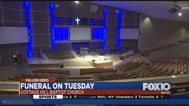 Cottage Hill Baptist Church lit up blue in honor of Ofc. Justin Billa. Source: FOX 10 News