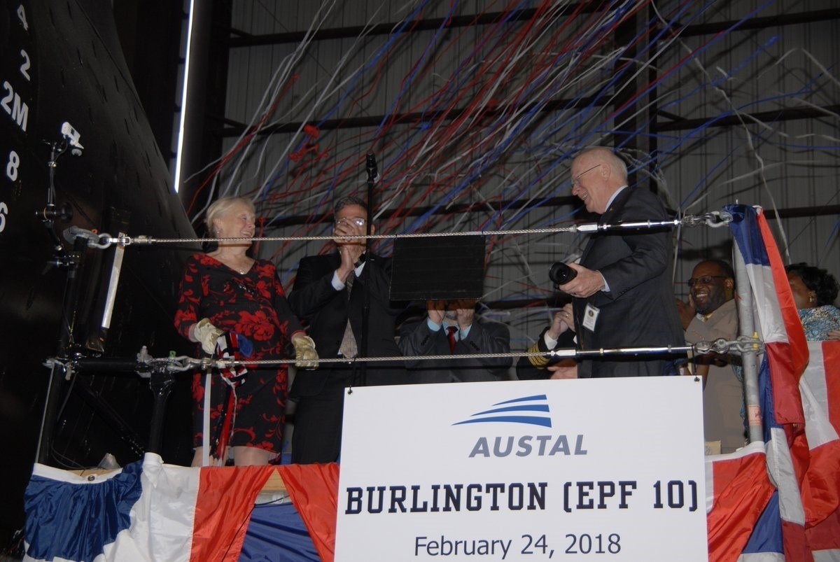 Austal USA christens the future USNS Burlington at a ceremony in the company's ship-building facility on the Mobile River. (Photo: Austal)
