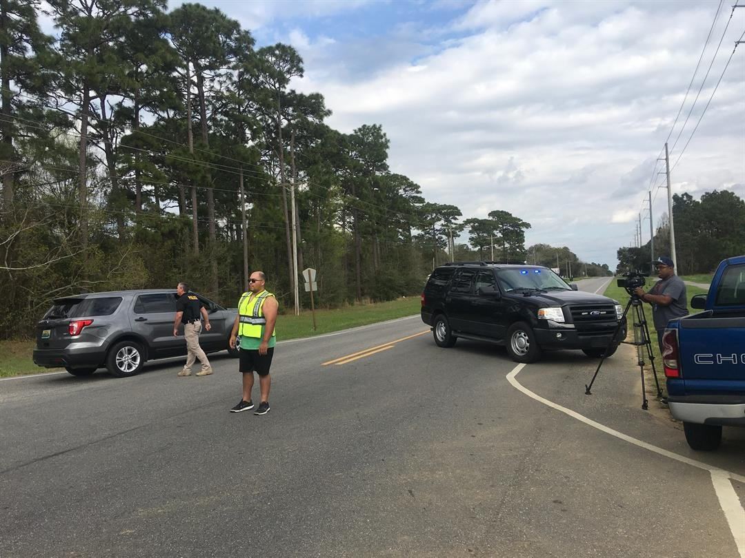 Highway 98 blocked by law enforcement officers near Barnwell on Monday (FOX10 News)
