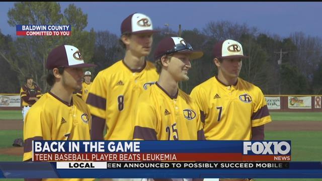 Robertsdale's Keaton Krebs, #25, strikes out leukemia to return to baseball diamond. Source: FOX 10 News